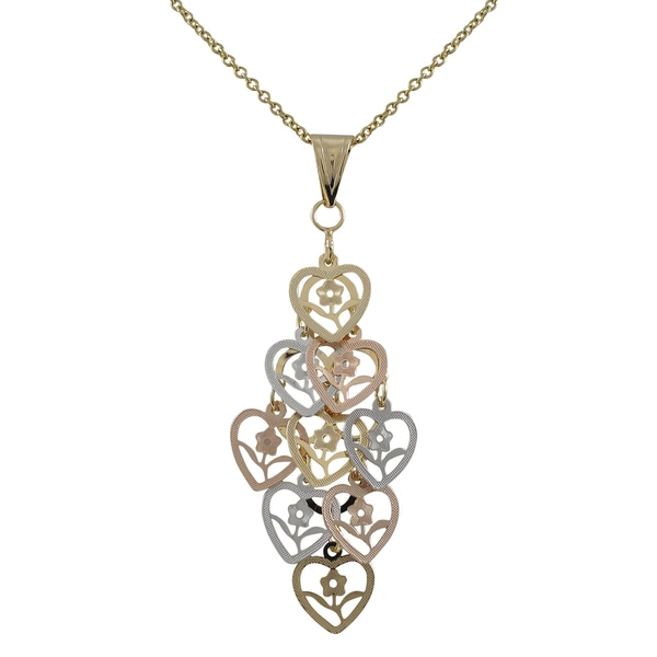 Tri-color Gold Finish Flower Cutout Hearts Chandelier Pendant Necklace