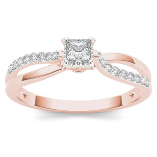 De Couer 10k Rose Gold 1/4ct TDW Diamond Classic Split-Shank Engagement Ring (H-I, I2)