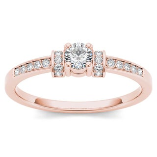 De Couer 10k Rose Gold 1/4ct TDW Diamond Classic Engagement Ring (H-I, I2)