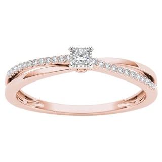De Couer 10k Rose Gold 1/8ct TDW Diamond Split-Shank Engagement Ring (H-I, I2)