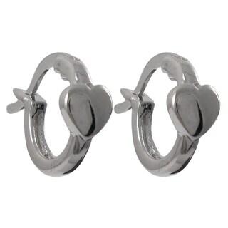 Sterling Silver Gold Finish Heart Children's Huggie Earrings
