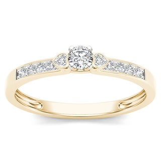 De Couer 10k Yellow Gold 1/5ct TDW Diamond Classic Engagement Ring (H-I, I2)