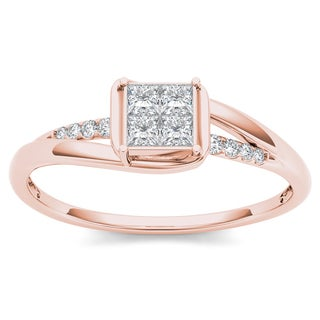 De Couer 10k Rose Gold 1/4ct TDW Diamond Bypass Engagement Ring (H-I, I2)