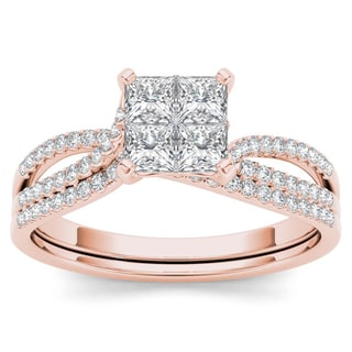 De Couer 14k Rose Gold 3/4ct TDW Diamond Halo Engagement Ring Set with One Band (H-I, I2)