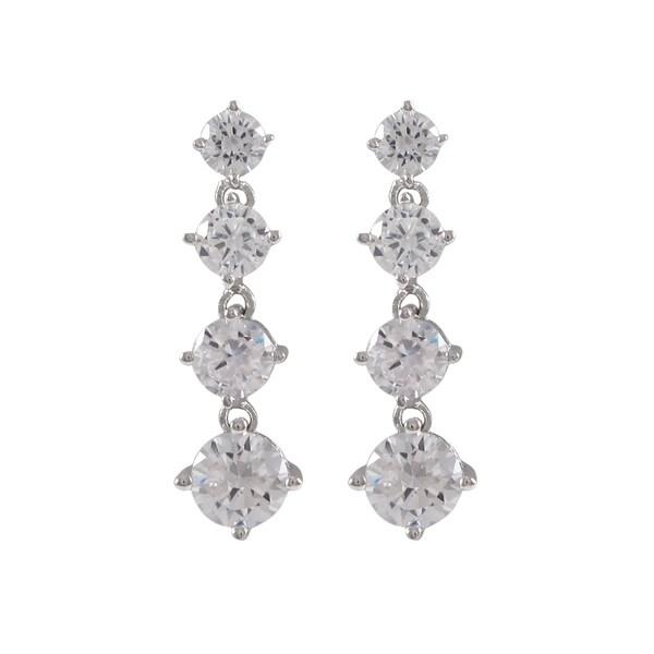 Sterling Silver Cubic Zirconia Graduated Drop Earrings