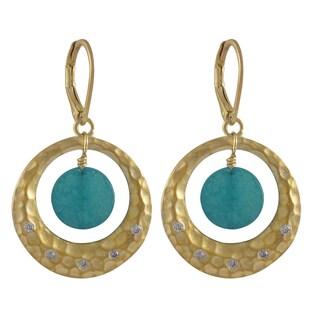 Gold Finish Gemstone Cubic Zirconia Hammered Circle Dangle Earrings