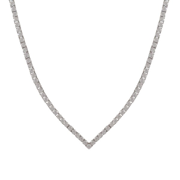 Sterling Silver Cubic Zirconia V Tennis Necklace