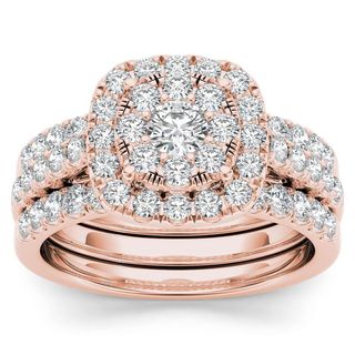 De Couer 14k Rose Gold 1 1/2ct TDW Diamond Halo Engagement Ring Set with Two Bands (H-I, I2)