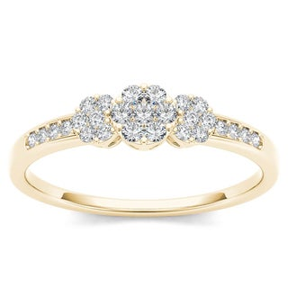 De Couer 10k Yellow Gold 1/5ct TDW Diamond Cluster Engagement Ring (H-I, I2)