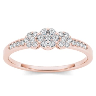 De Couer 10k Rose Gold 1/5ct TDW Diamond Cluster Engagement Ring (H-I, I2)