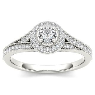 De Couer 14k White Gold 5/8ct TDW Diamond Halo Engagement Ring (H-I, I2)