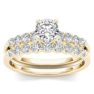 De Couer 14k Yellow Gold 1ct TDW Diamond Classic Engagement Ring Set with One Band (H-I, I2)