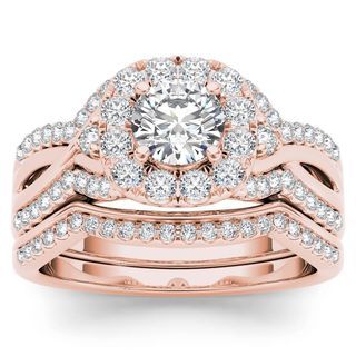 De Couer 14k Rose Gold 1 1/4ct TDW Diamond Halo Engagement Ring Set with One Band (H-I, I2)
