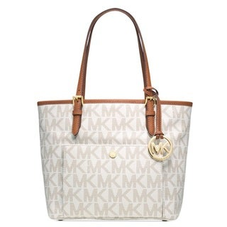 Michael Kors Jet Set Medium Signature Snap Pocket Tote Bag
