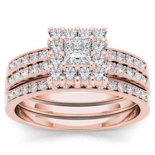 De Couer 14k Rose Gold 7/8ct TDW Diamond Halo Engagement Ring Set with Two Band (H-I, I2)
