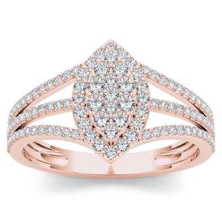 De Couer 10k Rose Gold 1/2ct TDW Diamond Marquise-Framed Cluster Engagement Ring (H-I, I2)