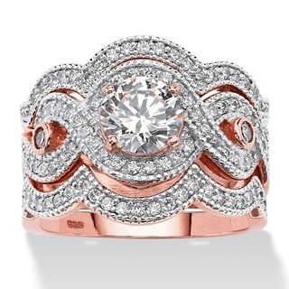 PalmBeach Rose Gold over Sterling Silver 2 2/5ct Round Cubic Zirconia Bridal Ring Set