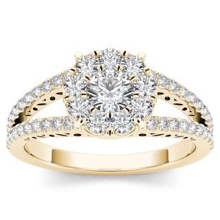 De Couer 10k Yellow Gold 1ct TDW Diamond Split Shank Cluster Engagement Ring (H-I, I2)