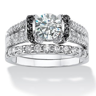 PalmBeach 2.39 TCW Round Cubic Zirconia Two-Piece Bridal Set in .925 Sterling Silver Classic CZ