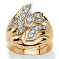 PalmBeach 18k Yellow Goldplated 1/2ct Cubic Zirconia Bypass Bridal Ring Set