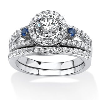 PalmBeach 1.72 TCW CZ and Lab Created Sapphire Halo Bridal Set in Platinum Over .925 Sterling Silver Classic CZ