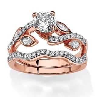 Rose Gold-plated Sterling Silver Cubic Zirconia Bridal Ring Set - White