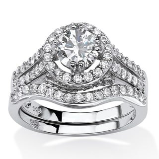 PalmBeach 1.67 TCW Round Cubic Zirconia 2-Piece Halo Bridal Set in Platinum Over .925 Sterling Silver Glam CZ