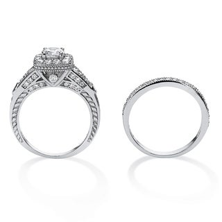 PalmBeach 1.78 TCW Round Cubic Zirconia Two-Piece Halo Bridal Set in Platinum Over .925 Sterling Silver Classic CZ