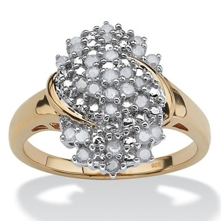 PalmBeach 18k Yellow Gold over Sterling Silver 1/2ct TDW Round Ice Diamond Cluster Ring (H-I, I2-I3)