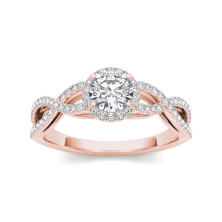 De Couer 14k Rose Gold 3/4ct TDW Diamond Halo Engagement Ring (H-I, I2)