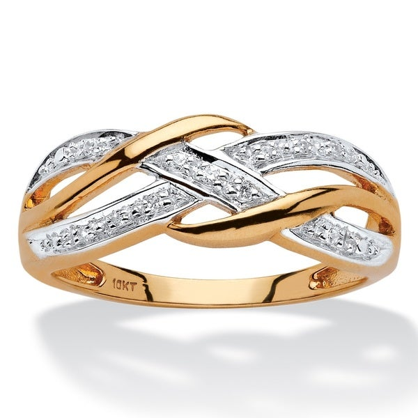 PalmBeach 10k Yellow Gold Diamond Accent Braided Crossover Ring