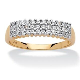 PalmBeach 10k Yellow Gold 1/3ct TDW Diamond Cluster 3-row Band (H-I, I2-I3)