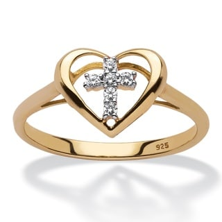 PalmBeach 18k Yellow Gold over Sterling Silver Diamond Accent Floating Cross Heart Ring