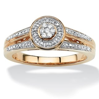 PalmBeach 14k Yellow Gold over Sterling Silver 1/10ct TDW Diamond Double Shank Halo Ring (H-I, I2-I3)
