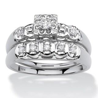 PalmBeach 10k White Gold 1/4ct TDW Round Diamond Bridal Ring Set (I-J, I2-I3)