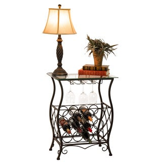 Oil Rubbed Bronze Finish Wine Bottle and Accessory Glass Top Table