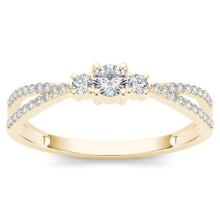 De Couer 10k Yellow Gold 1/4ct TDW Diamond Three-Stone Anniversary Ring (H-I, I2)