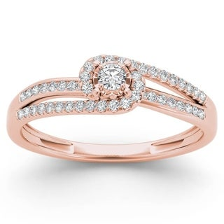 De Couer 10k Rose Gold 1/5ct TDW Diamond Bypass Halo Engagement Ring (H-I, I2)