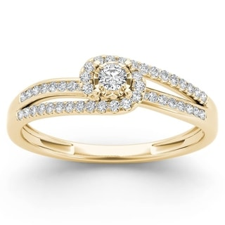 De Couer 10k Yellow Gold 1/5ct TDW Diamond Bypass Cluster Engagement Ring (H-I, I2)