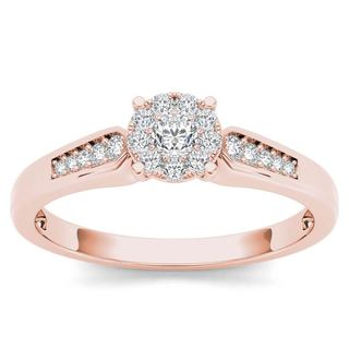 De Couer 10k Rose Gold 1/4ct TDW Diamond Cluster Engagement Ring (H-I, I2)