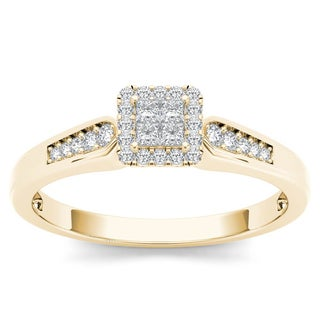 De Couer 10k Yellow Gold 1/4ct TDW Diamond Halo Engagement Ring (H-I , I2)
