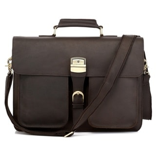 Vicenzo Executive Genuine Leather Men's Laptop Messenger Briefcase