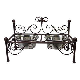 Antique Brown Iron Fleur De Lis Accent Pet Feeder