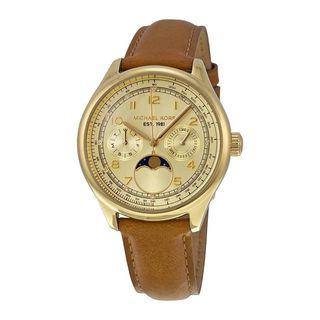 Michael Kors Women's MK2393 'Amelia' Moon phase Chronograph Brown Leather Watch