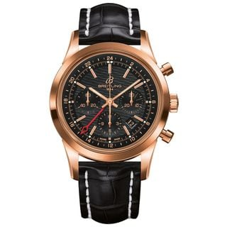 Breitling Men's RB045112-BC68 'Transocean' Automatic Chronograph 18 karat Rose gold and Black Leather Watch