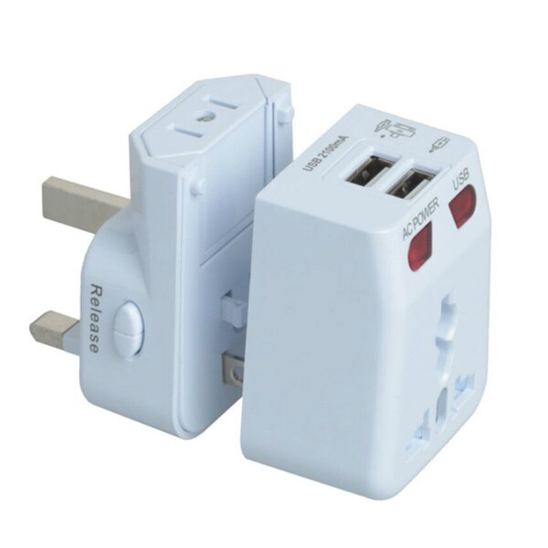 AC Travel Adapter with 2 USB Charging Ports (US/ UK/ EU/ AU)