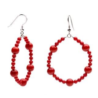 Sterling Silver Red Coral Bead Hoop Earrings