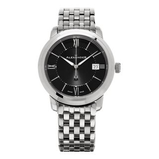 Alexander Men's A111B-03 'Macedon' Black Dial Stainless Steel Bracelet Date Swiss Quartz Heroic Watch