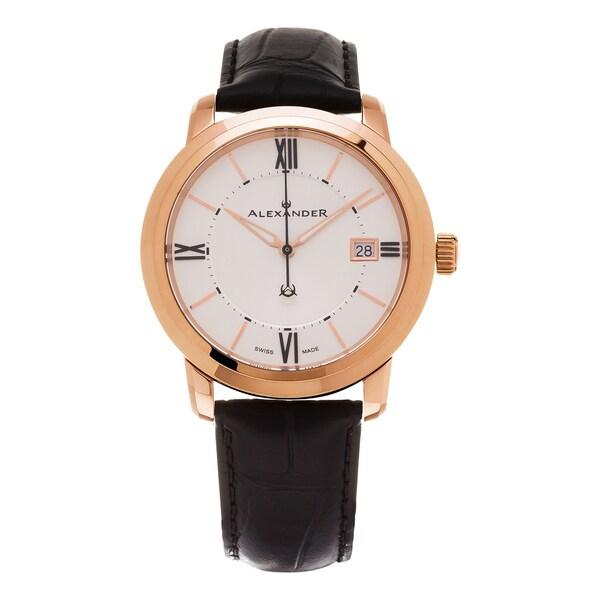 Alexander Men's A111-06 'Macedon' Silver Dial Black Leather Strap Date Swiss Quartz Heroic Watch