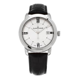 Alexander Men's A111-02 'Macedon' Silver Dial Black Leather Strap Date Swiss Quartz Heroic Watch